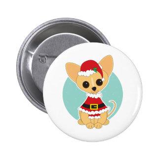 Chihuahua Santa Button