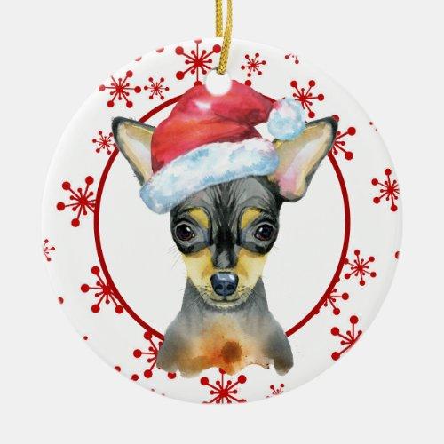 Chihuahua Santa Hat Red Snowflake Template Ceramic Ornament