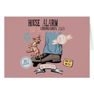 Chihuahua Security Alarm Funny New Invention Stationery Note Card