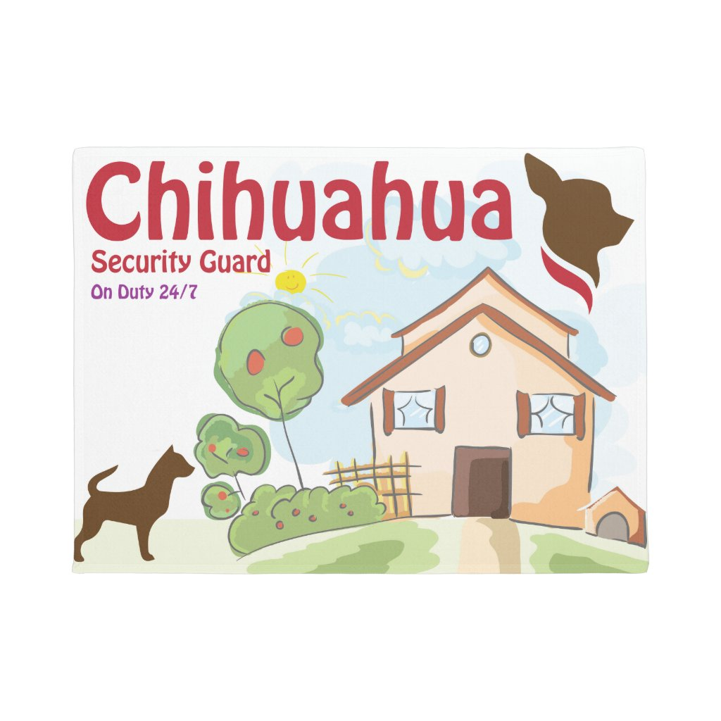 Chihuahua Security Guard Door Mat