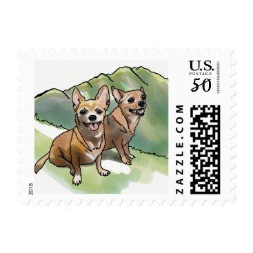 Hawaiian Themed Chihuahua Shih Tzu Terrier Dog Stamps