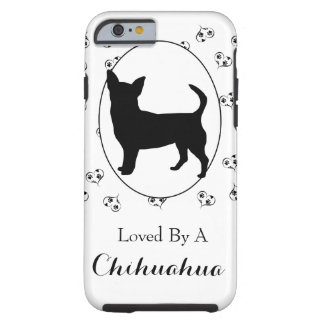 Chihuahua Silhouette Hearts and Paw Prints Tough iPhone 6 Case
