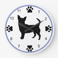 Chihuahua Silhouette Large Clock