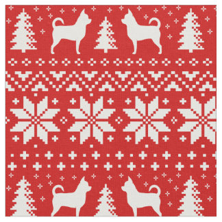 Chihuahua Silhouettes Christmas Sweater Pattern Fabric