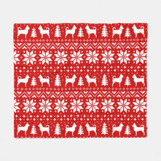 Chihuahua Silhouettes Christmas Sweater Pattern Fleece Blanket