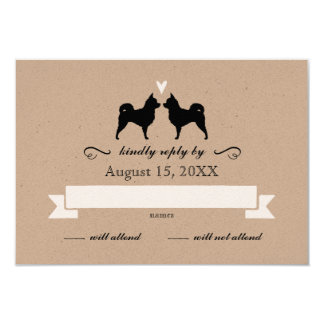 Chihuahua Silhouettes (Long Haired) Wedding RSVP Card