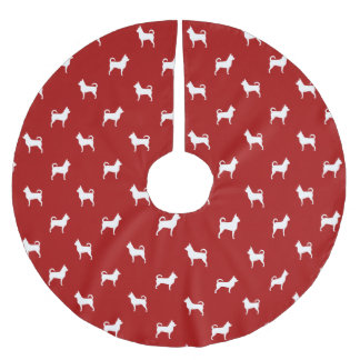 Chihuahua Silhouettes Pattern Brushed Polyester Tree Skirt