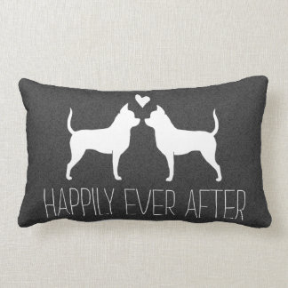 Chihuahua Silhouettes with Heart and Text Lumbar Pillow