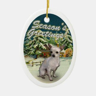 Chihuahua Snow Cabin Christmas Ornament