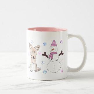 Chihuahua & Snowman Two-Tone Coffee Mug