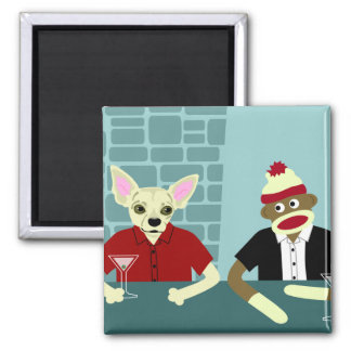 Chihuahua & Sock Monkey 2 Inch Square Magnet