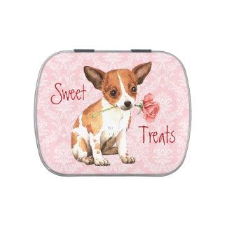 Chihuahua subió tarjeta del día de San Valentín Jarrones De Dulces