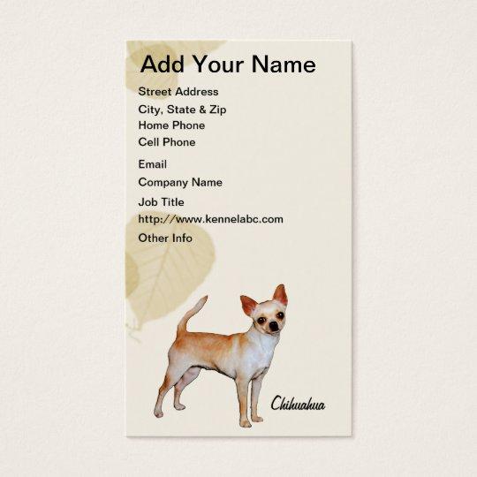Chihuahua Tan Leaves Motiff Business Card
