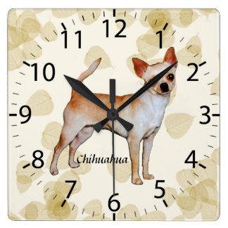 Chihuahua Tan Leaves Motiff Square Wall Clocks