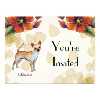 Chihuahua Tan Leaves Motiff Personalized Invite