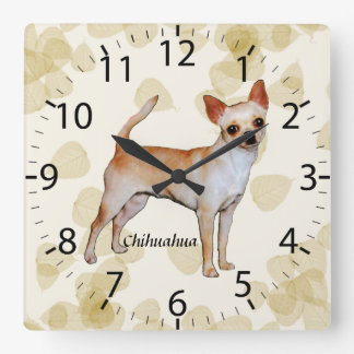 Chihuahua Tan Leaves Motiff Square Wall Clock