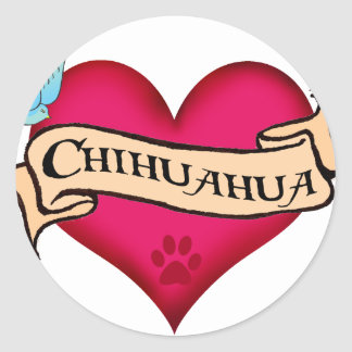 Chihuahua Tattoo Heart Classic Round Sticker