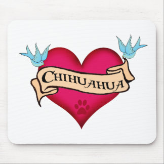 Chihuahua Tattoo Heart Mouse Pad
