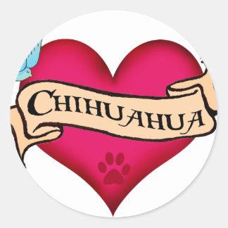 Chihuahua Tattoo Heart Stickers