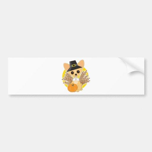 Chihuahua Thanksgiving Car Bumper Sticker