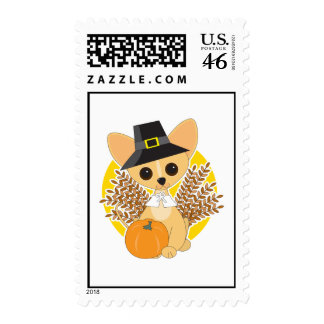 Chihuahua Thanksgiving Postage Stamps
