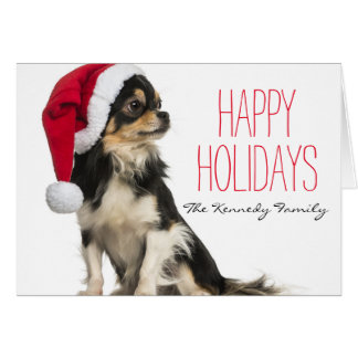 Chihuahua wearing a christmas hat card