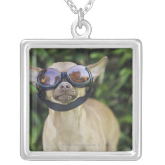 Chihuahua wearing goggles square pendant necklace