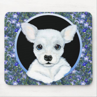 Chihuahua White Pup Floral Mouse Pad