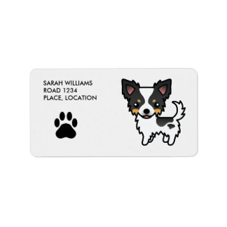 Chihuahua White Tricolor Long Coat Personalized Address Label