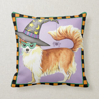 Chihuahua Witch Throw Pillow
