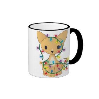 Chihuahua with Christmas Lights Ringer Mug