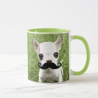 Chihuahua With Funny Mustache in Garden Mug