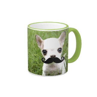 Chihuahua With Funny Mustache in Garden Ringer Mug