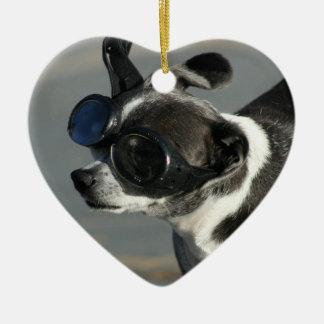 Chihuahua with Goggles Ceramic Ornament