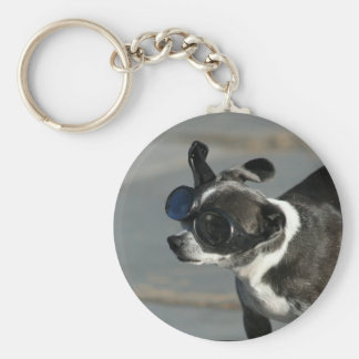 Chihuahua with goggles keychain