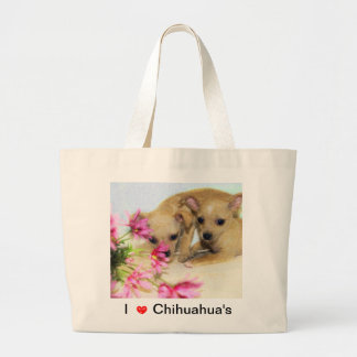 Chihuahua with Pink Flowers Jumbo Tote Bag