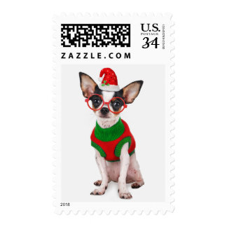 Chihuahua with Santa hat and glasses Postage