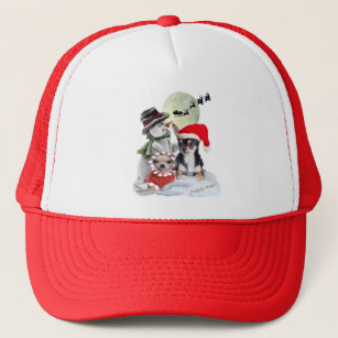 ba3ea3858ee Chihuahua with Snowman Trucker Hat