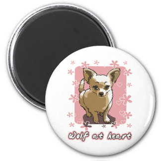 chihuahua wolf RK heart 2 Inch Round Magnet