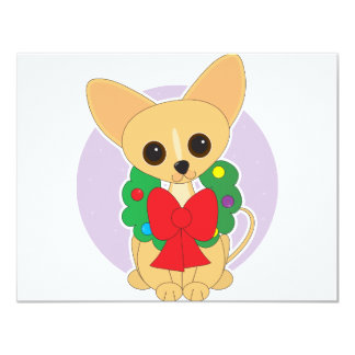Chihuahua Wreath 4.25x5.5 Paper Invitation Card
