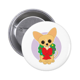 Chihuahua Wreath 2 Inch Round Button