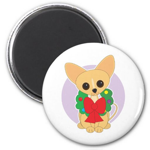 Chihuahua Wreath Refrigerator Magnet