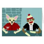 Chihuahua y mono del calcetín tarjeta de felicitación