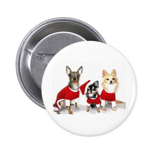 Chihuahuas del navidad pin redondo 5 cm