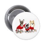 Chihuahuas del navidad pin redondo de 2 pulgadas