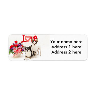 Chihuahua's, Flowers and Love Label