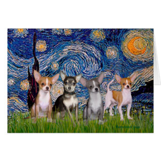 Chihuahuas (four) - Starry Night Greeting Card