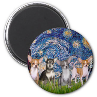 Chihuahuas (four) - Starry Night Magnet