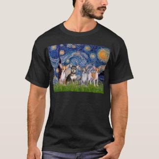 Chihuahuas (four) - Starry Night T-Shirt