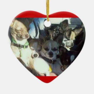 Chihuahuas Heart Ornament